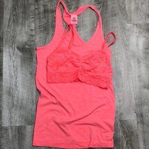 VS PINK neon coral orange tank + lace bra bundle S